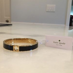 NWT Kate Spade Hole Punch Bracelet in Black/Gold